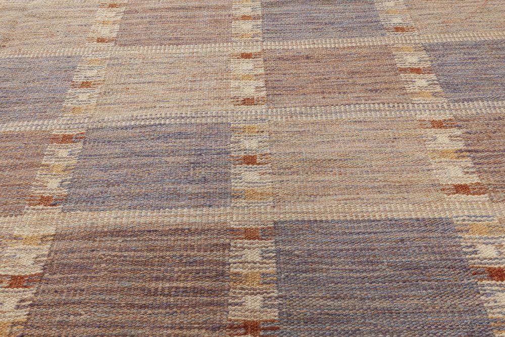 Modern Swedish Brown, Gray & Blue Flat-Woven Wool Rug N12054