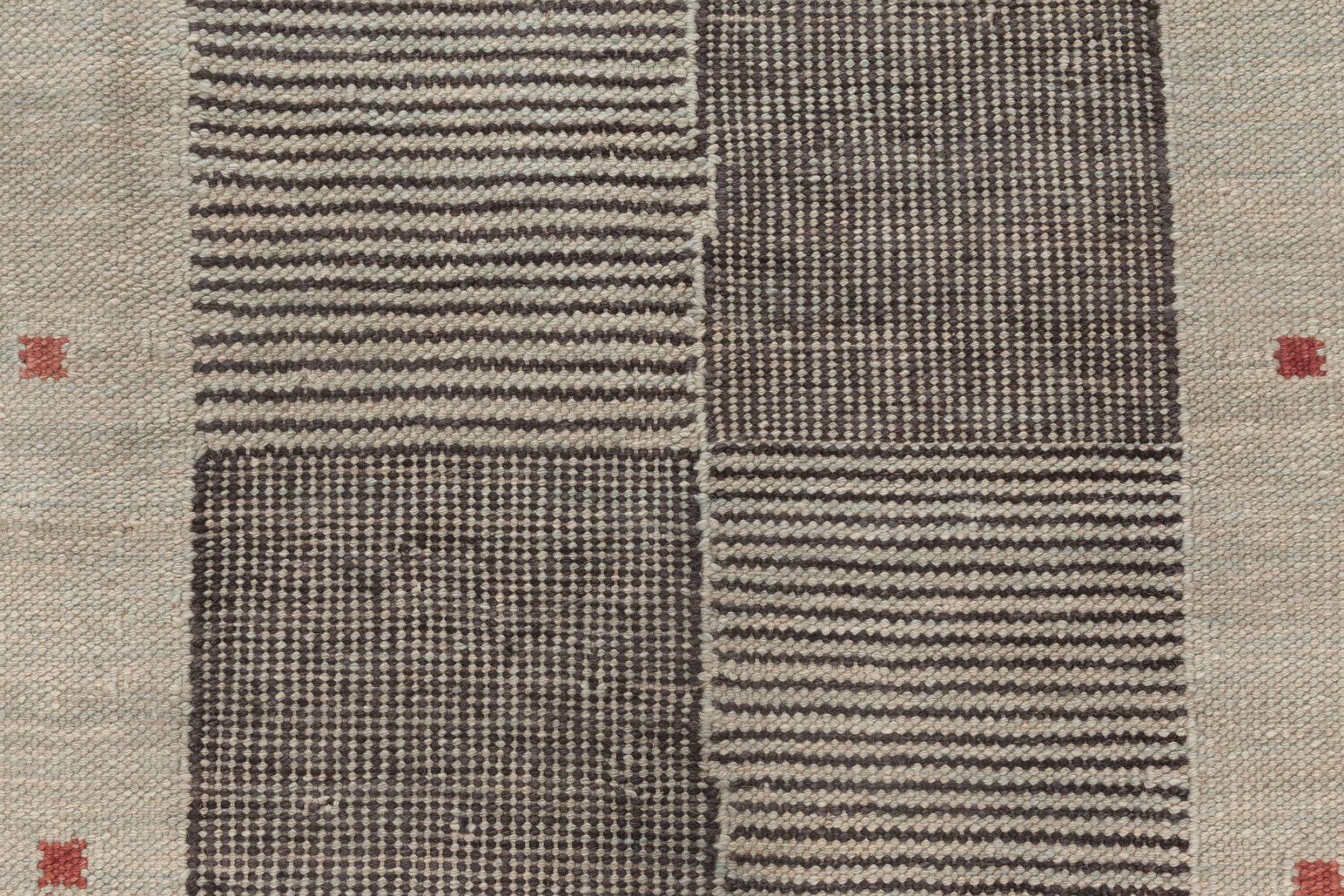 Contemporary Swedish Style Beige, Black and Red Flat-Weave Wool Runner N12056