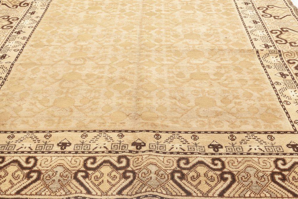 Midcentury Samarkand Beige, Brown and Black Handwoven Wool Rug BB7021