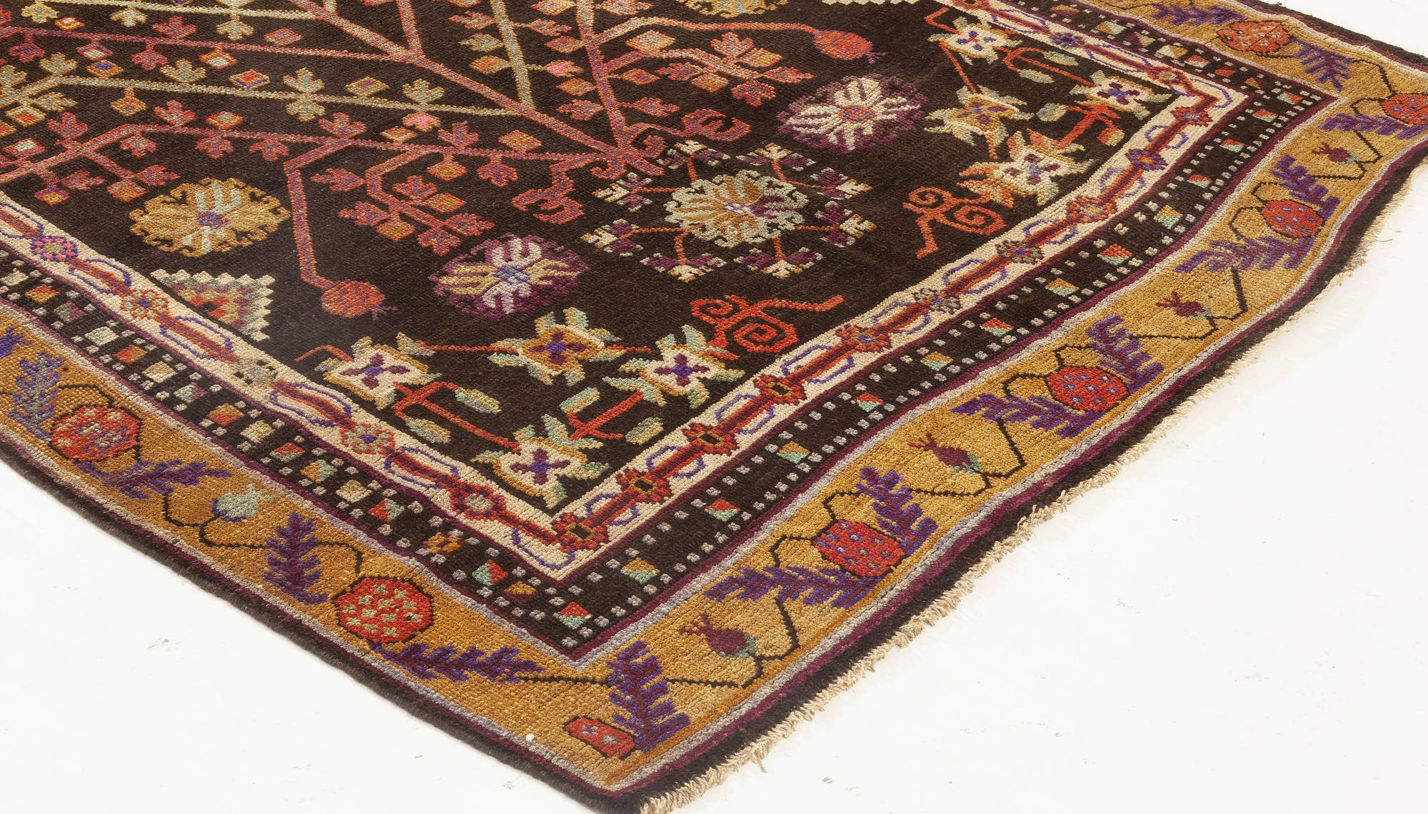 Samarkand Brown, Gold, Green, Purple and White Wool Rug BB7018