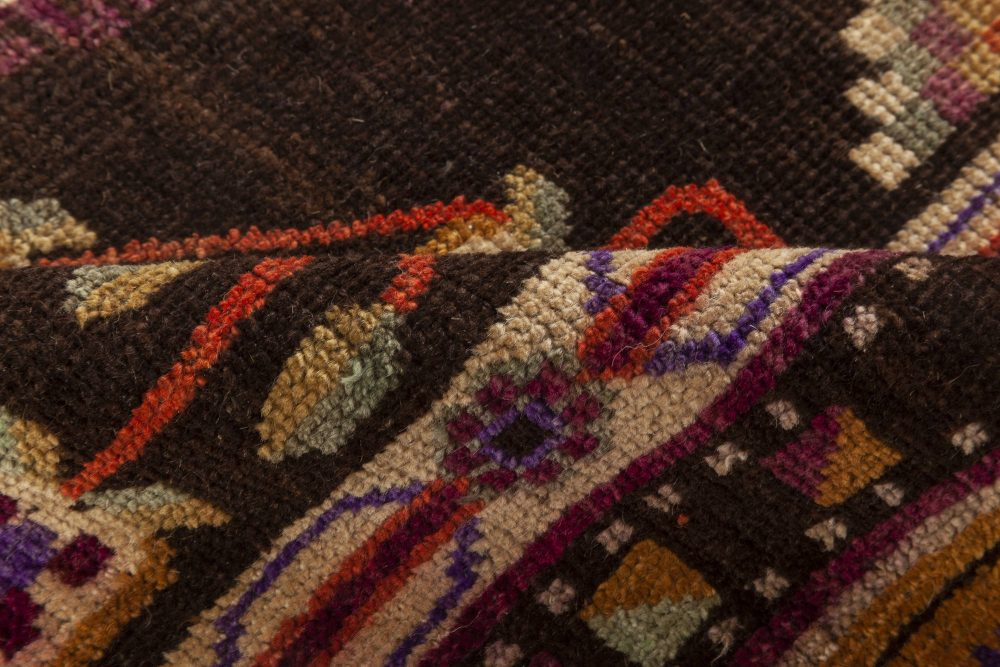Samarkand Handmade Wool Rug in Brown, Gold, Green, Purple and White BB7018