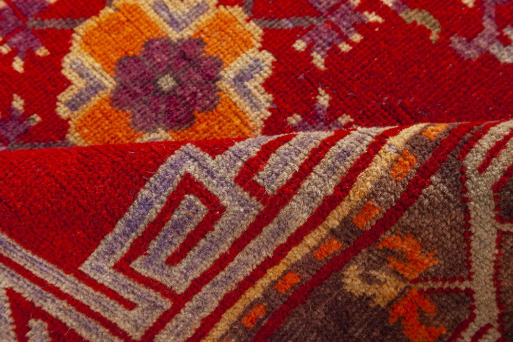 Samarkand Midcentury Red and Blue Handwoven Wool Rug BB7017