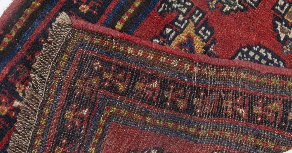 Antique Persian Bakhtiari Blue, Red and Yellow Runner Fragment BB7048