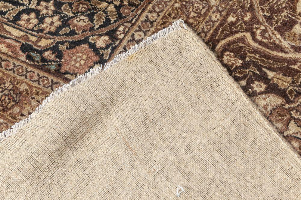 Antique Persian Tabriz Beige, Black, Brown and Blue Handwoven Wool Rug BB7035