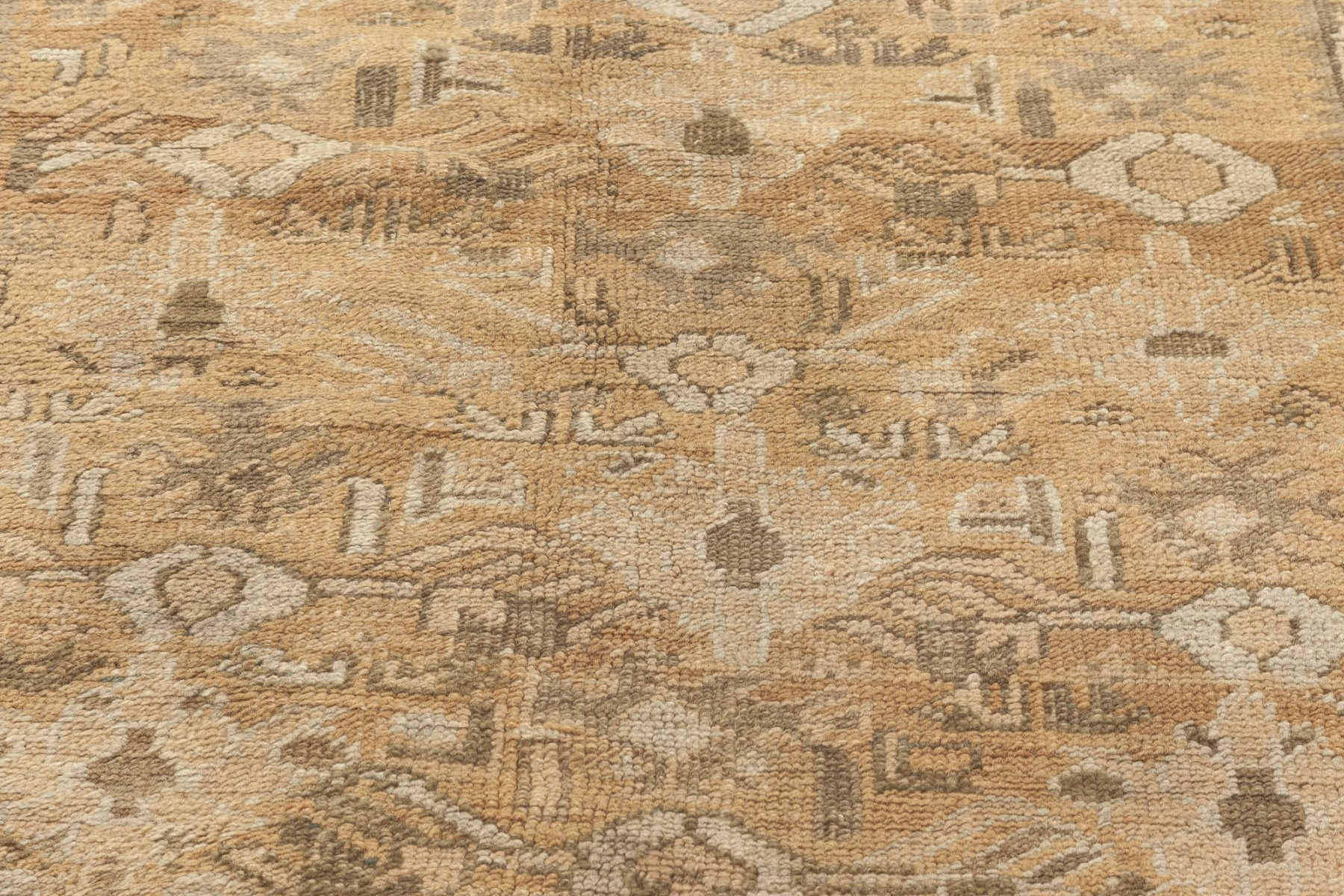 Oushak Beige, Camel, Brown and Ivory Hand Knotted Wool Rug BB7031