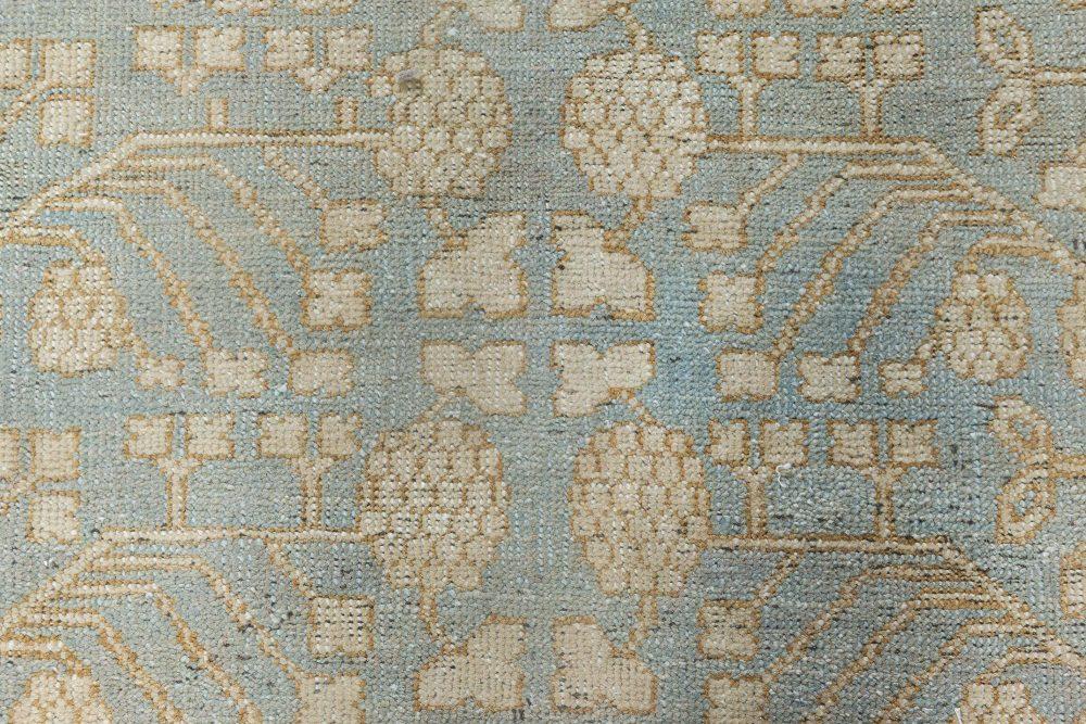 Samarkand Design Handmade Wool Rug in Beige, Blue, and Gold N11857