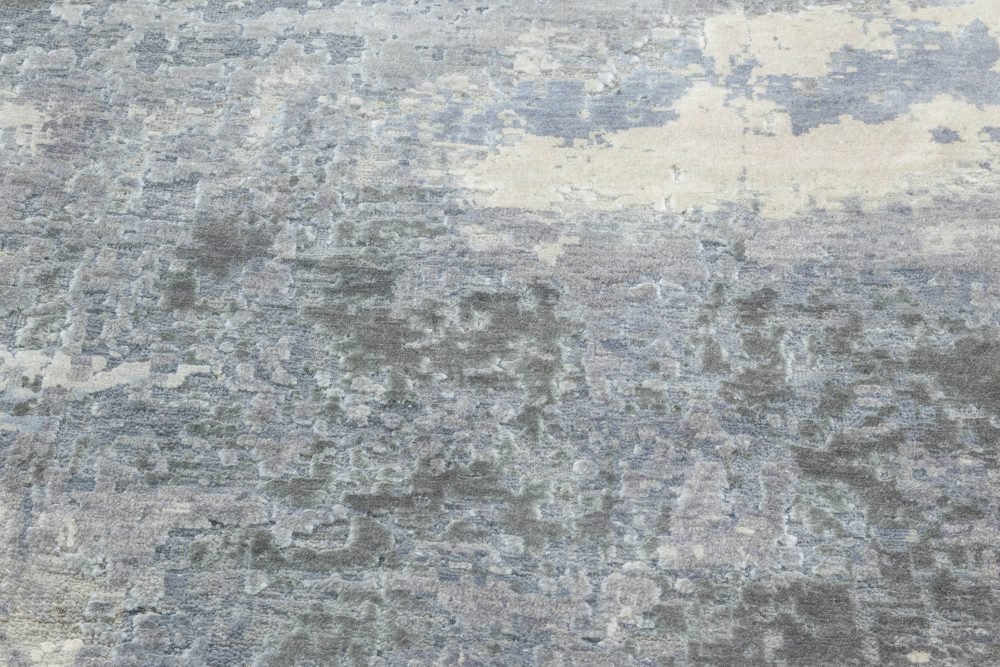 Modern North Star Blue and Gray Hand Knotted Silk Rug N12062