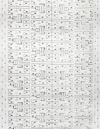 Swedish Skvattram Half Pile Geometric White & Black Rug N12060
