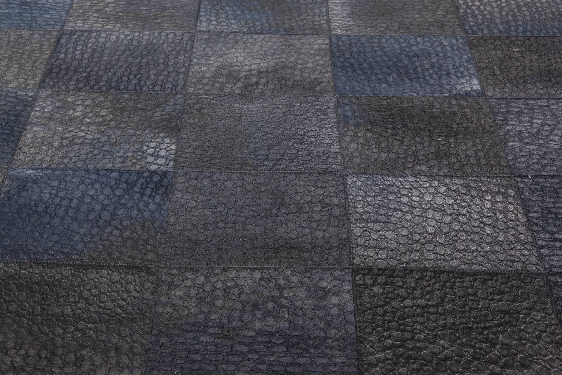Modern Geometric Square Blue, Black and Gray Hair on Hide Leather Rug N12058