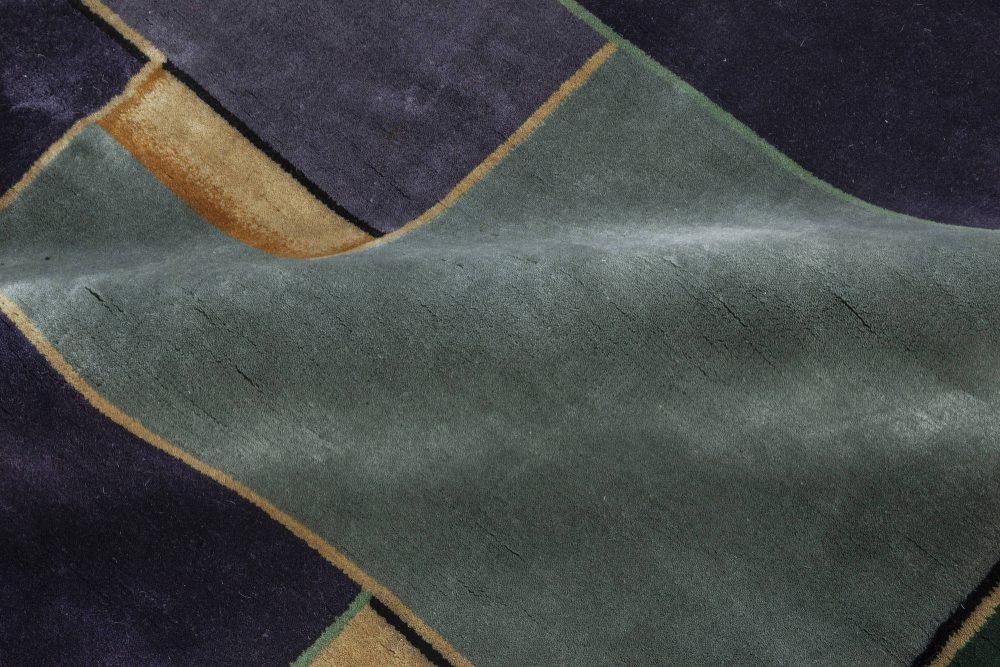 Vintage Chinese Art Deco Gold, Green & Purple Wool Rug BB7037