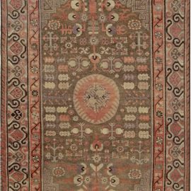 Samarkand Taupe, Beige, Dusty Pink and Purple Handwoven Wool Rug BB7030