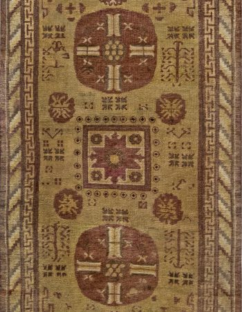 Art Deco Dusty Rust and Brick Red Handwoven Wool Rug BB7108