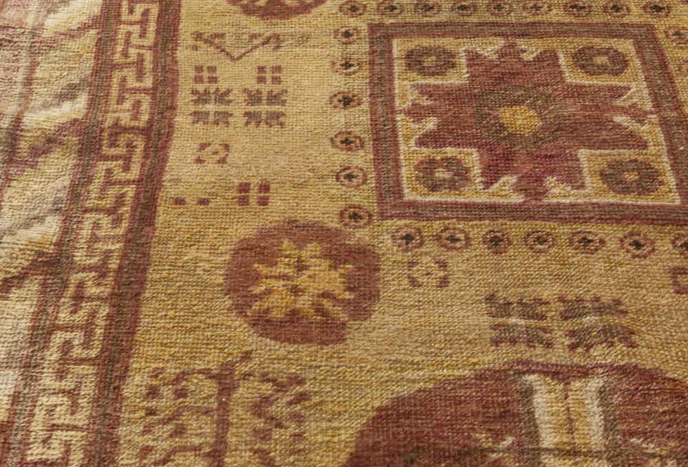 Midcentury Samarkand Purple and Yellow Hand Knotted Wool Rug BB7032