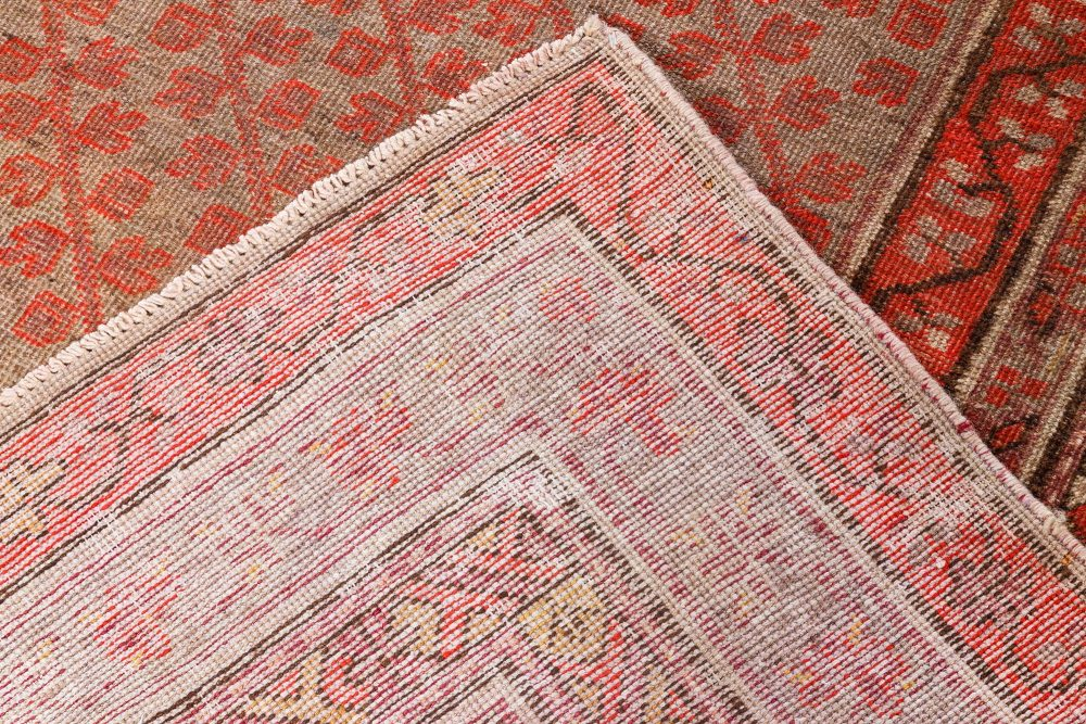 Midcentury Samarkand Beige, Red and Orange Hand Knotted Wool Rug BB7040