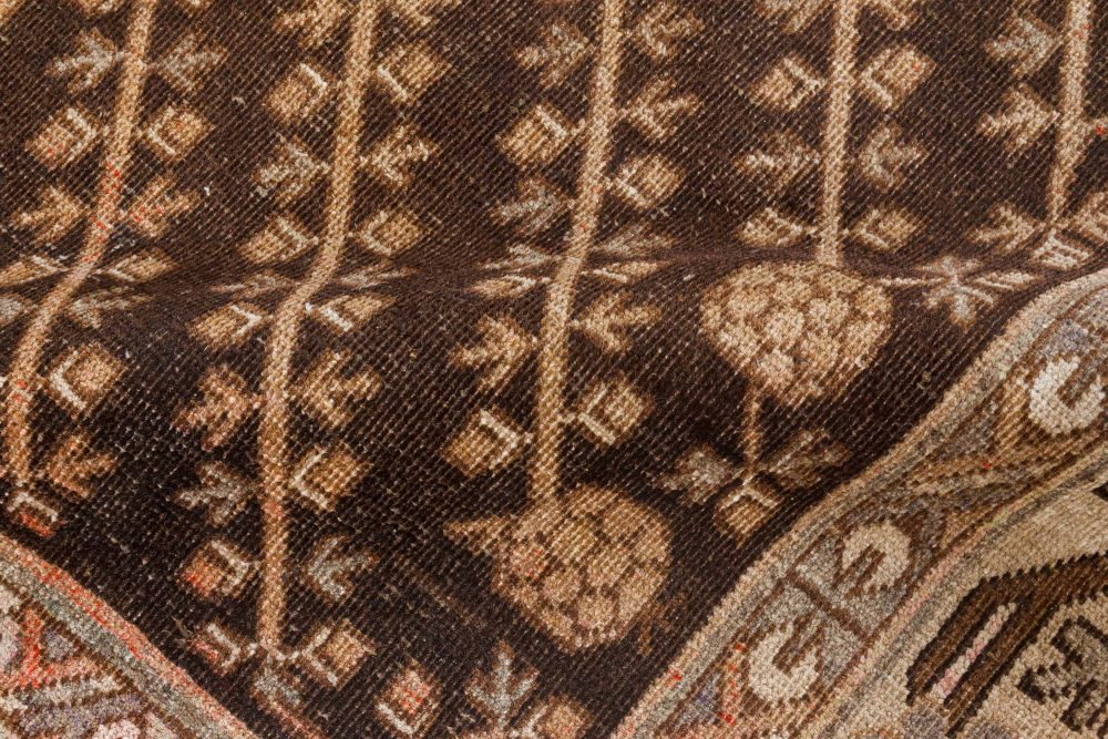 Midcentury Samarkand Brown, Beige and Pink Handwoven Wool Rug BB7041