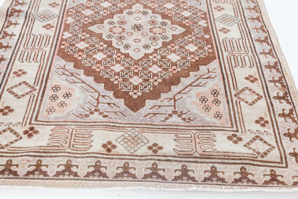 Samarkand Gray and Beige, Purple and Pink Handwoven Wool Rug BB7042