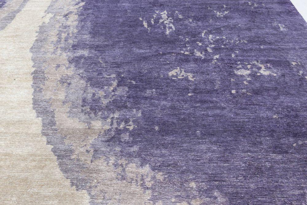 21st Century Art Deco Purple Trace De Pas Silk & Wool Rug N12061