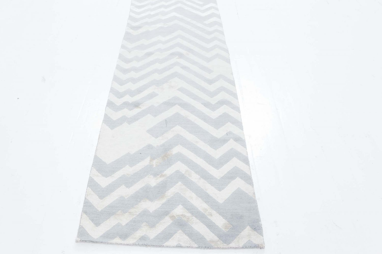 Modern Geometric Beige and Gray, Hand Knotted Silk and Wool Runner N12068