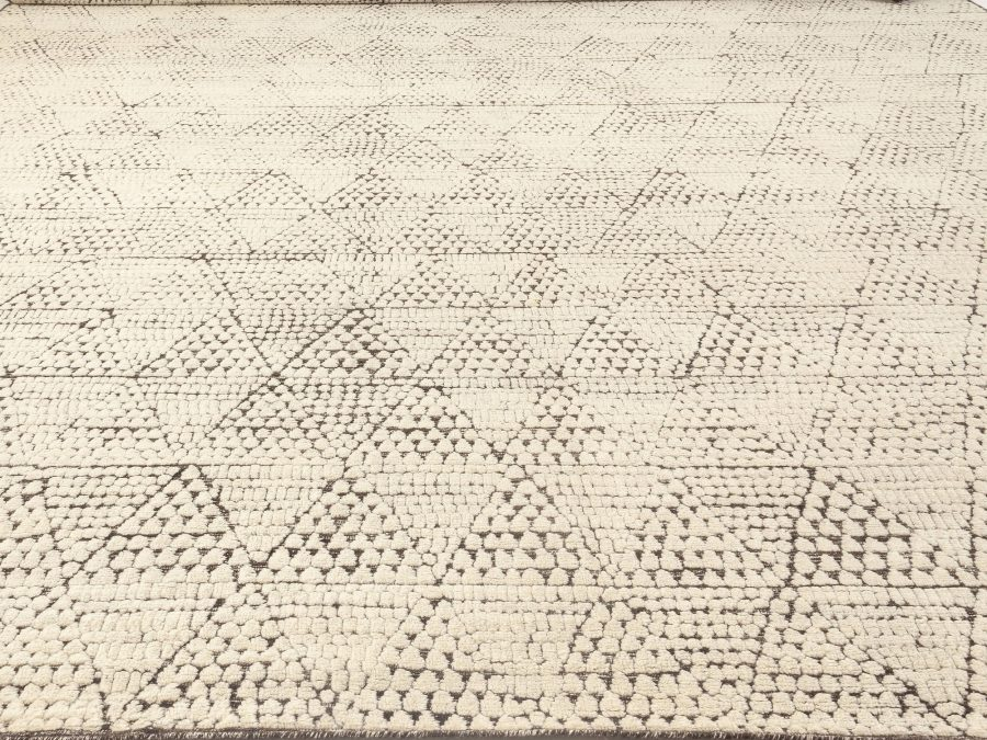 Oversized Moroccan Black and White Hand Knotted Textured Elements Rug N12071
