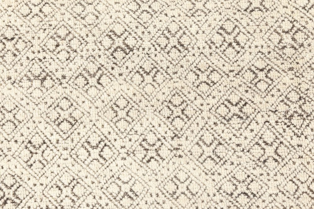 Oversized Modern Moroccan Black and White Hand Knotted Elements Rug N12072