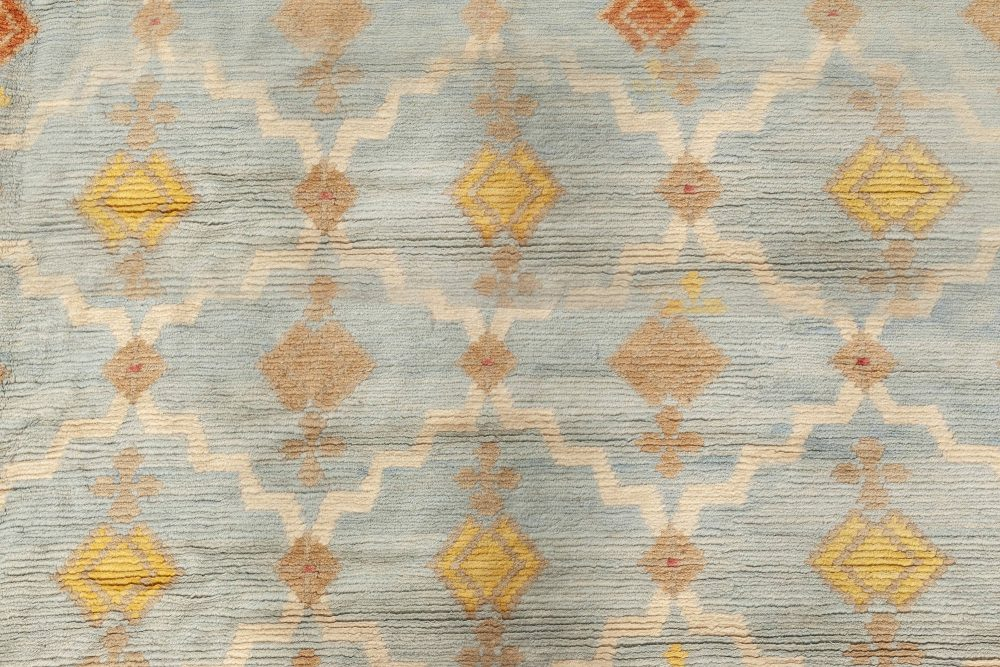 Jaipur, a Traditional Blue, Gold, Red and White Hand Knotted Wool Rug N12076