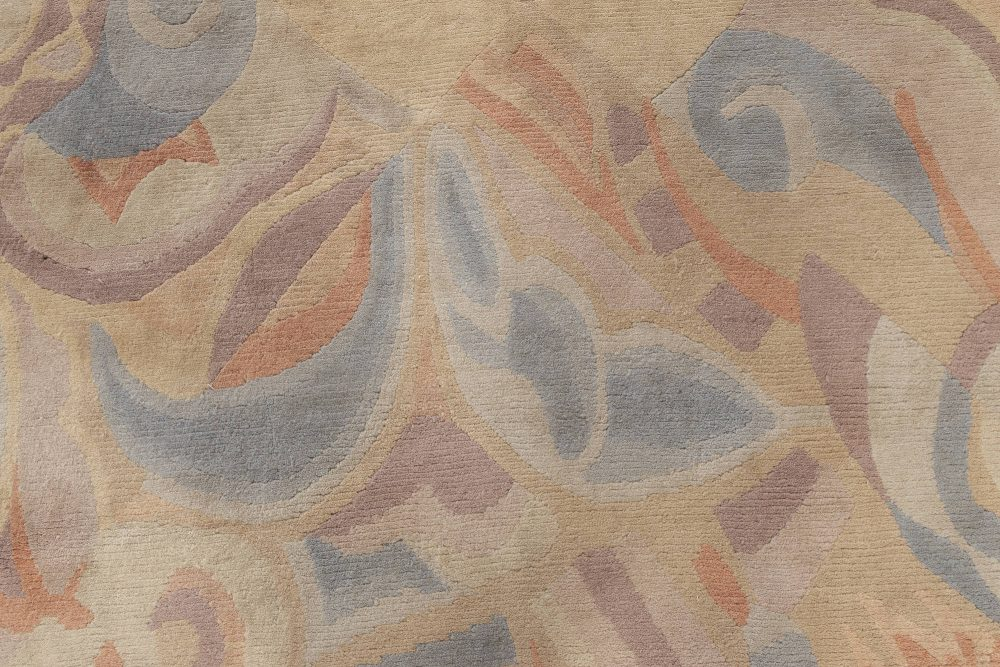 Modern French Art Deco Style Beige, Blue, Brown & Purple Rug N12074