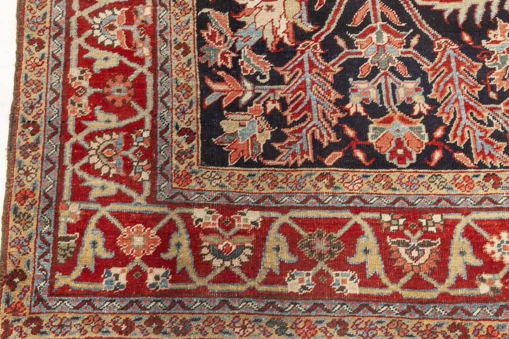 1930s Persian Heriz Rug in Beige, Blue, Brown, Pink and Red BB7060