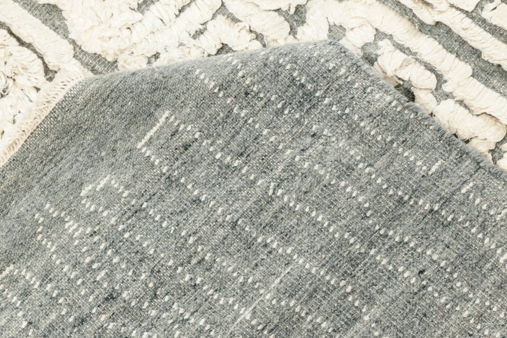 Seafoam Off-White, Gray & Light Blue High-Low Silk & Wool Rug N12080