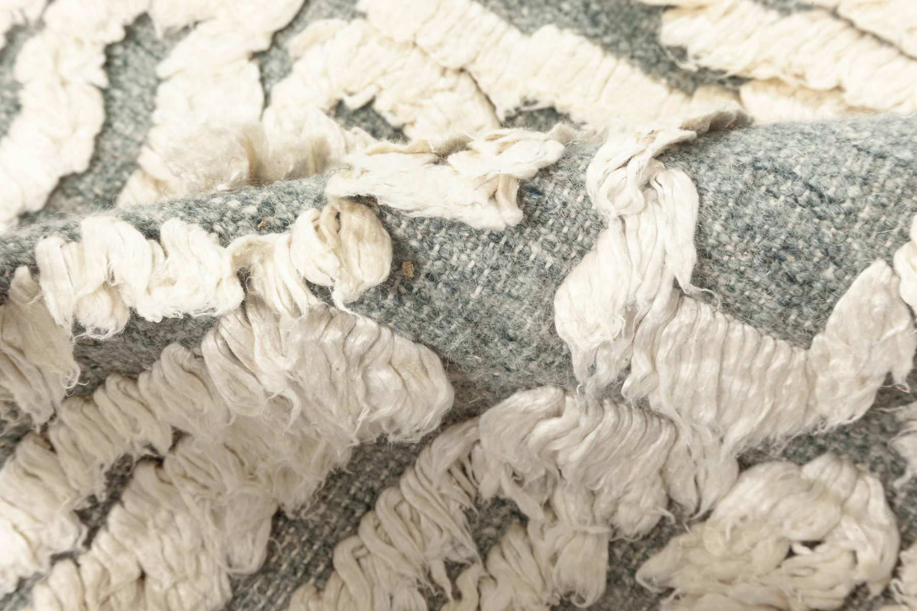 Seafoam Off-White, Gray & Light Blue High-Low Silk & Wool Rug N12080