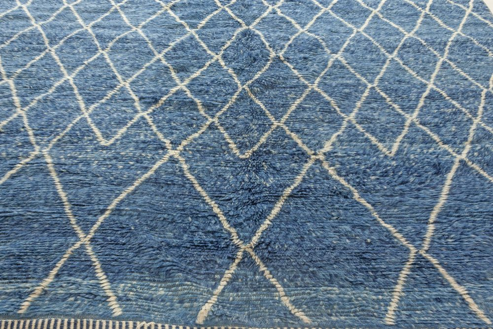 Moroccan Geometric Blue and Off-White Hand Knotted Wool Rug N12087