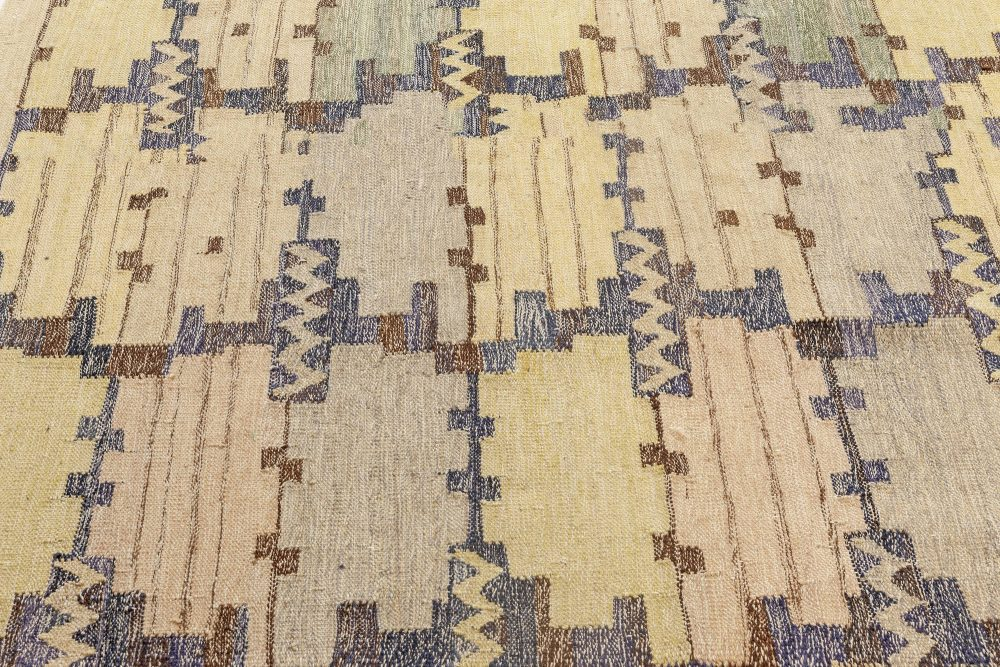 New Swedish Inspired Blue, Green, Purple and Yellow Flat-Woven Rug N12088
