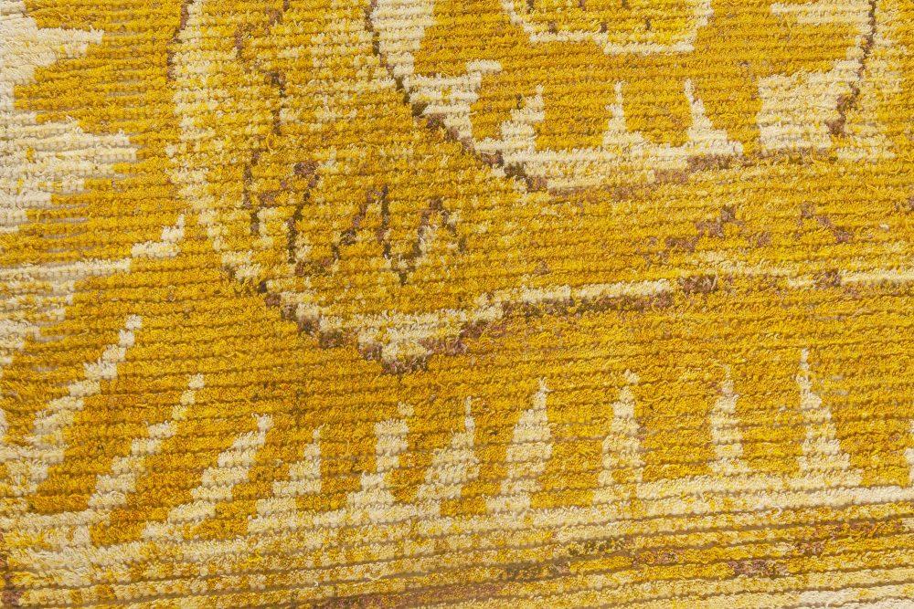 "Mid-Century Yellow ""Solrosen"" Rya Rug by Marta Maas-Fjetterstrom BB7063"