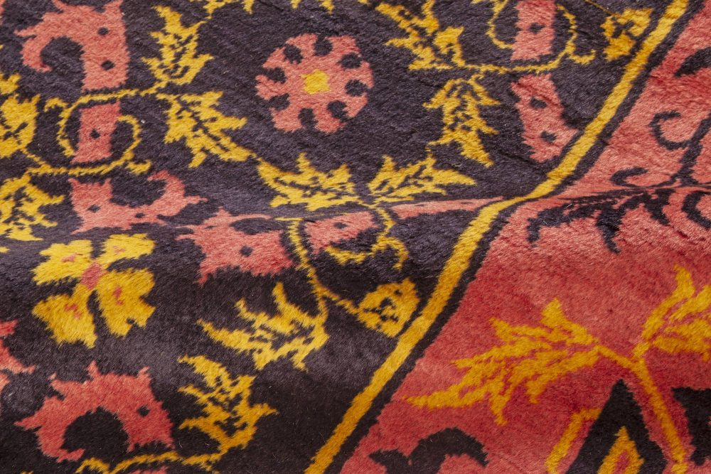 Chinese Midcentury Deep Purple, Pink and Yellow Handwoven Wool Rug BB7058