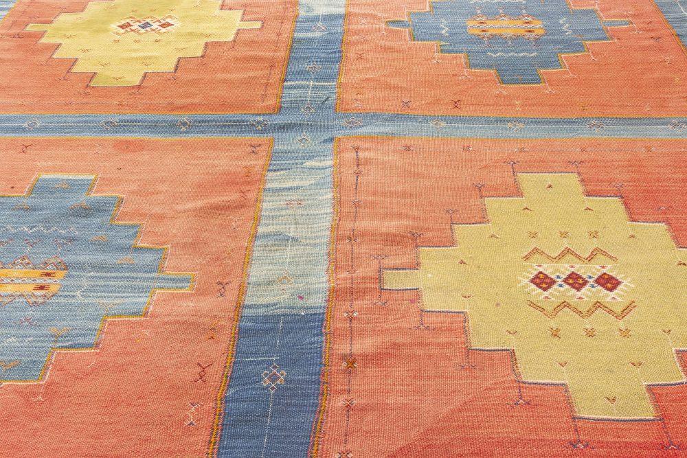 Turkish Kilim Blue, Red and Sandy Beige Handwoven Wool Rug BB7056
