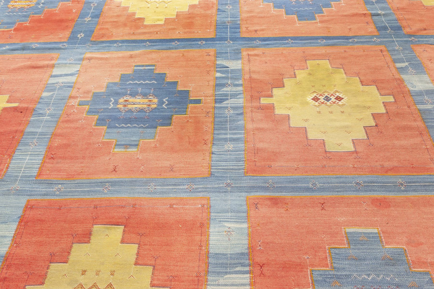 Turkish Kilim Blue, Red and Sandy Beige Handwoven Wool Rug BB7056