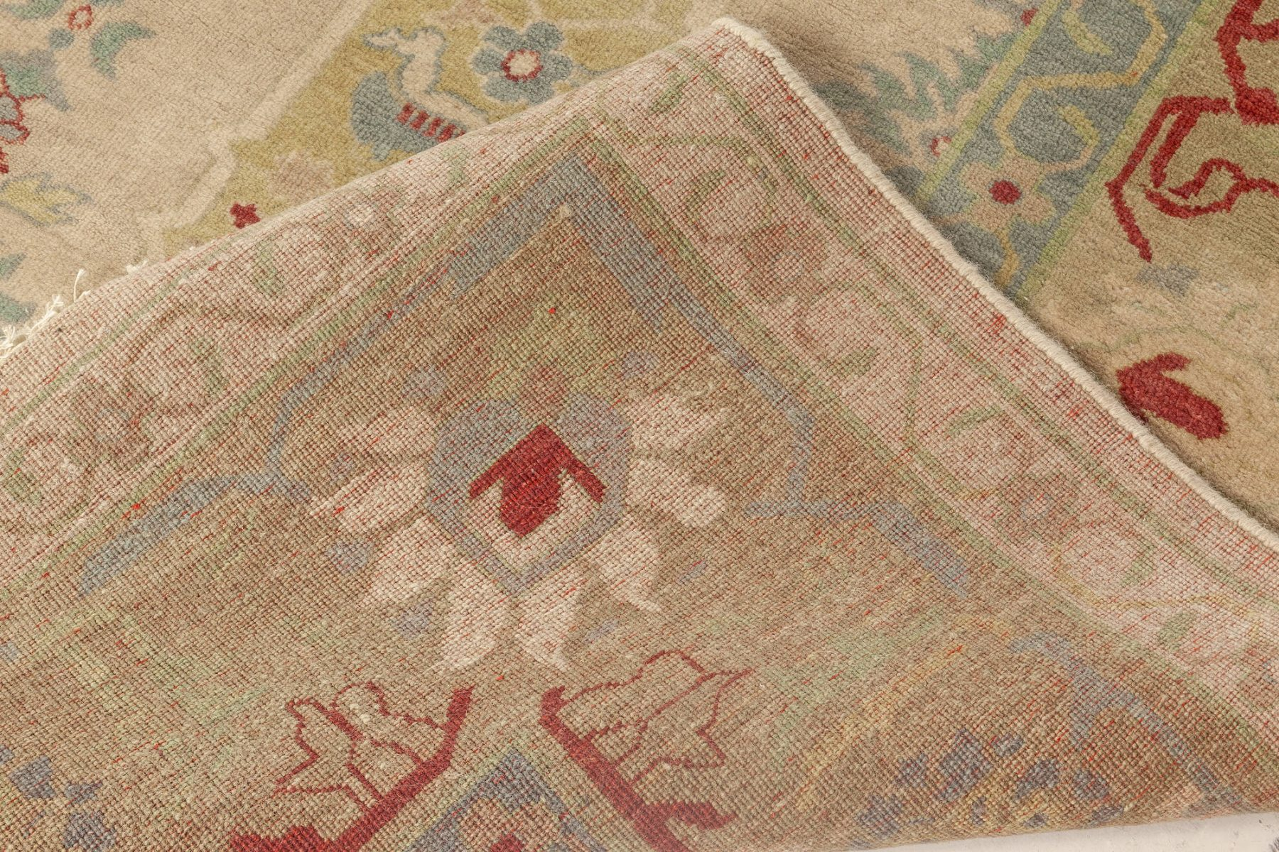 Traditional Oushak Design Beige, Green, Blue and Red Rug N12086