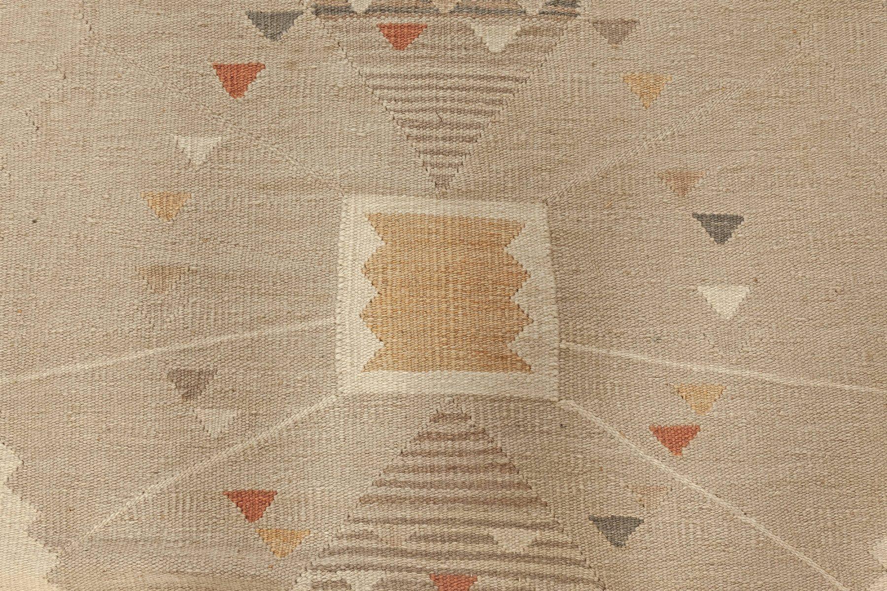 Swedish Beige, Brown and Orange Flat-Weave Wool Rug N12090