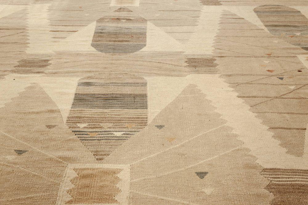 Modern Swedish Design Beige, Brown and Gray Flat-Weave Wool Rug N12091