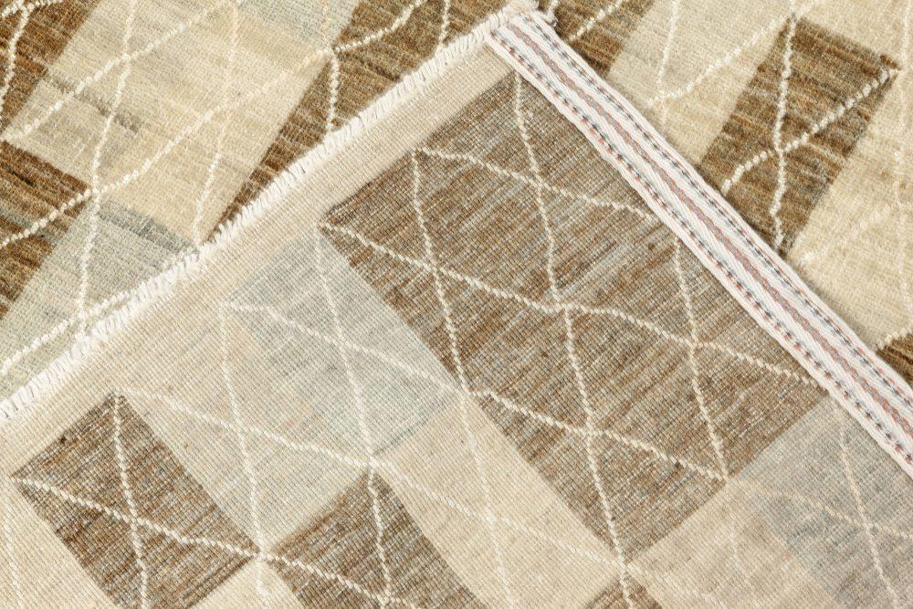 Swedish Pile Pastel Blue, Brown, Beige and Off-White Wool Rug N12092