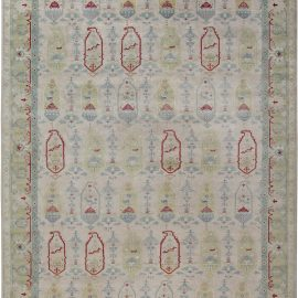 Traditional Oushak Design Rug in Beige, Blue, Green, and Red N12085