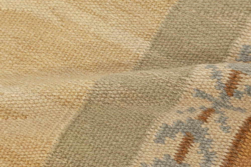 Large Hand-woven Vintage Scandinavian Rug with an Ample Tan Field and Green, Ivory, Amber, and Blue Border BB7067