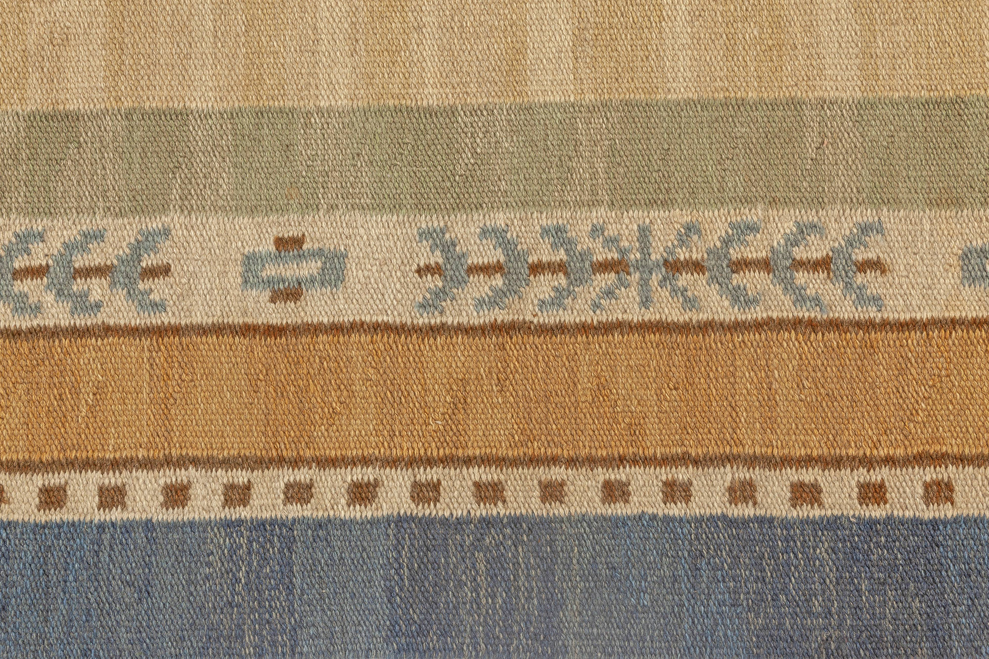 Large Hand Woven Vintage Scandinavian Rug With An Ample Tan Field And Green Ivory Amber And Blue Border Bb7067 By Dlb