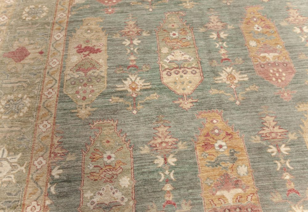 Traditional Oushak Design Blue, Green, Orange and Red Knotted Rug N12101