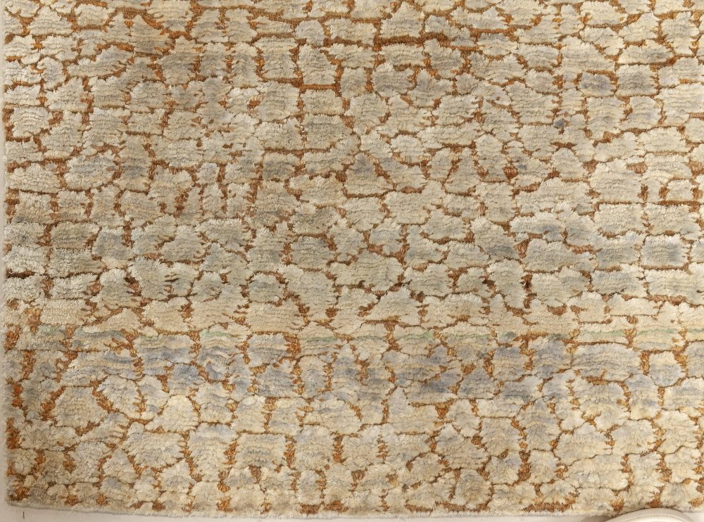 Handmade Wool and Silk Rug in Warm Beige, Blue, Brown and Green N12095