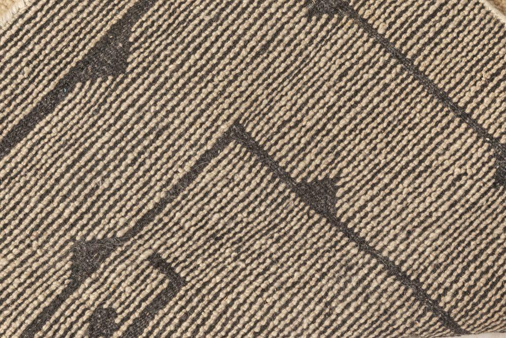 Swedish Skvattram Half Pile Geometric Black and Beige Rug N12094