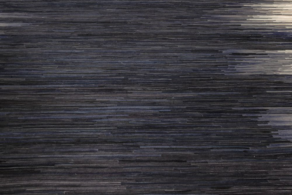 Contemporary Hair on Hide Beige and Blue Rug N12096