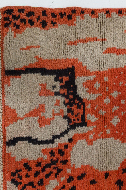 Midcentury French Art Deco Beige, Black and Orange Wool Rug BB7070