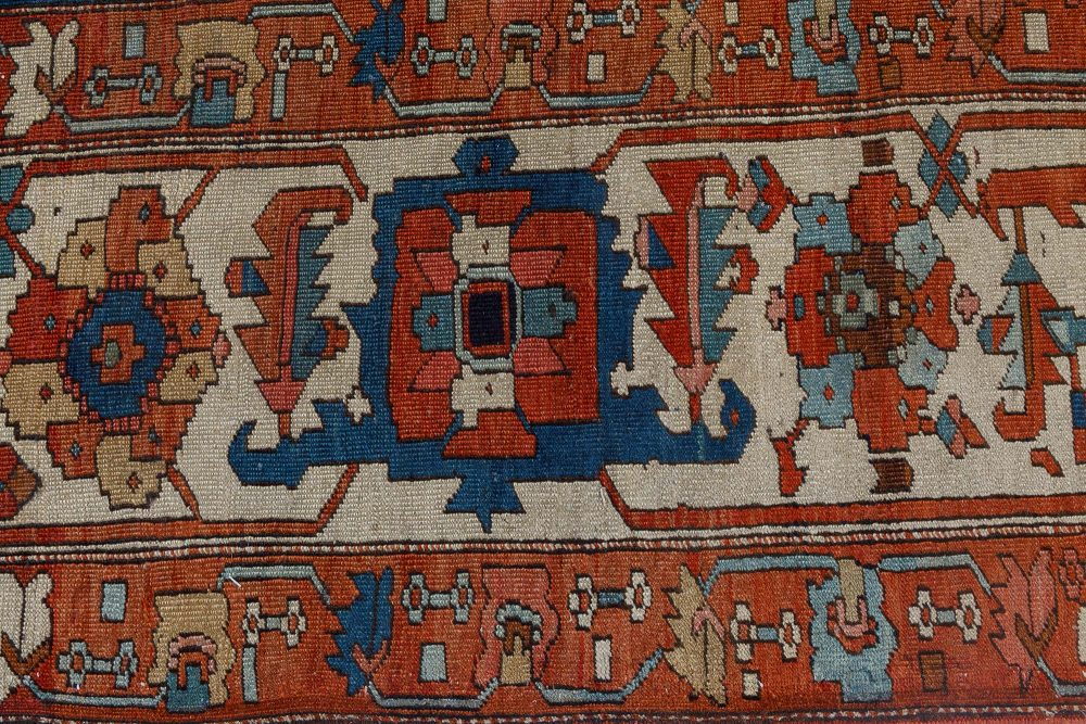Antique Persian Heriz Blue, Brown, Red and White Handwoven Wool Rug BB7139