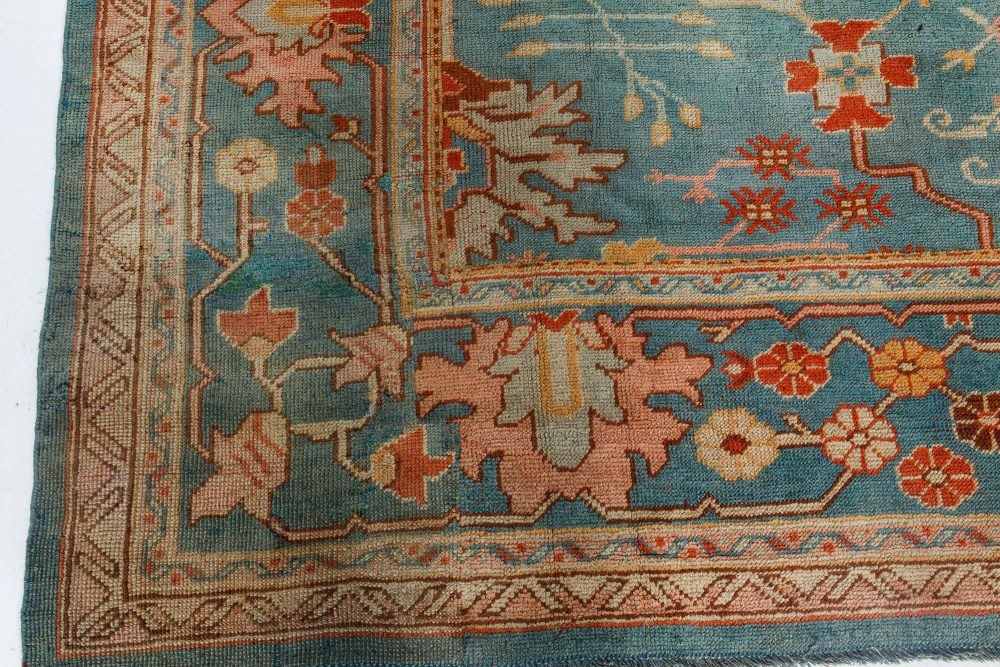Oushak Green, Orange and Pink Hand Knotted Wool Rug BB7140