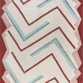 Art Deco Design Beige, Brown, Green and Pink Hand-knotted Wool Rug N12116